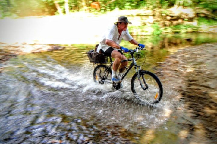 Greg blazing through one of the many river crossings through the trail spanning the breadth of Busuanga.