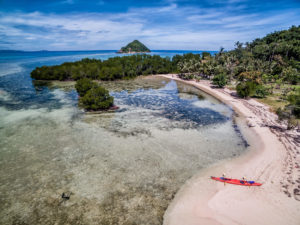 Drop paddle at islands